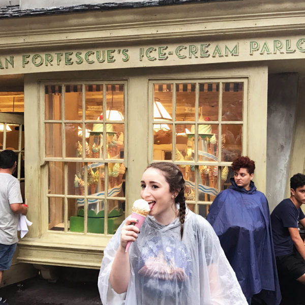 Enjoying an ice cream cone from Florean Fortescue's at The Wizarding World of Harry Potter